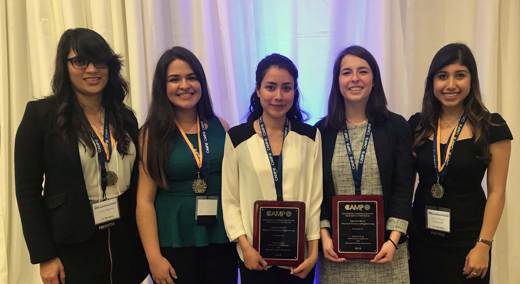 NSF UC Statewide Research Poster Winners: Cindy, Arcelia, Arismel, Julia, & Alexis