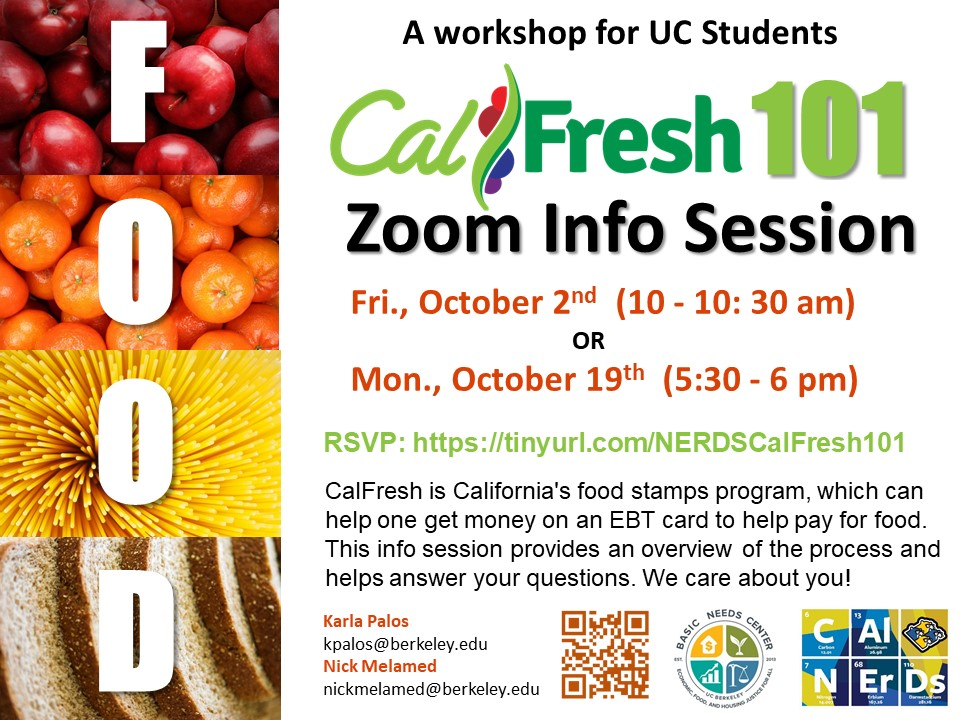 We hosted three Cal Fresh workshops during fall 2020